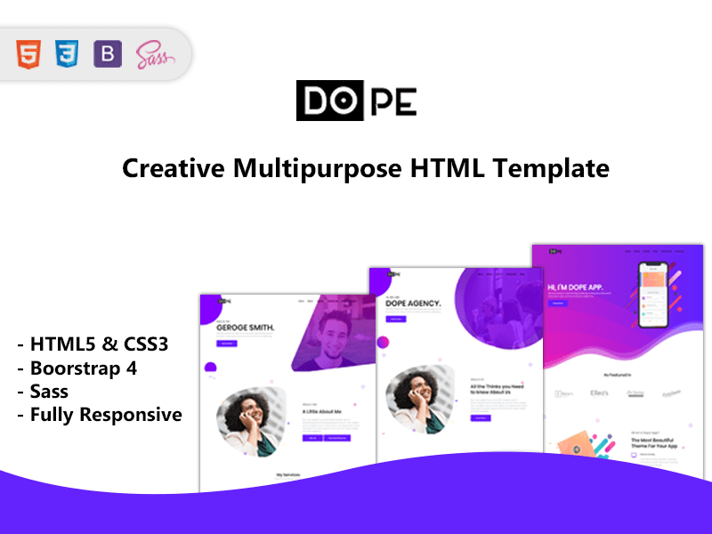 Dope - Multipurpose Bootstrap4 Template 8