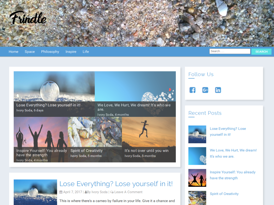 Frindle - mobile friendly WordPress theme 5
