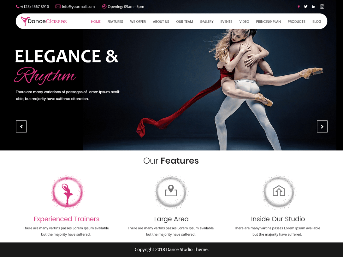 Nataraj Dance Studio WordPress Theme 3