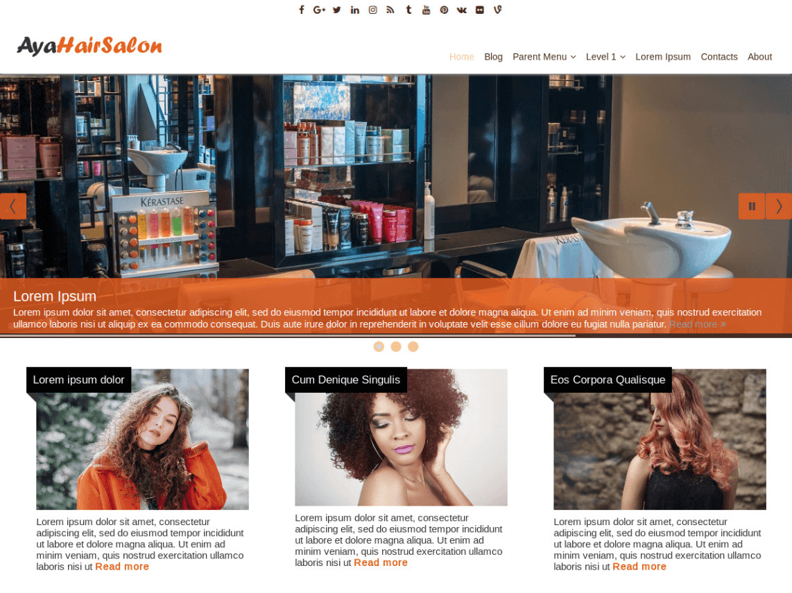 AyaHairSalon - WordPress Theme Of AyaClub