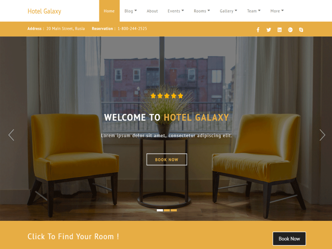 Hotel Galaxy - professional Hotel WordPress Theme