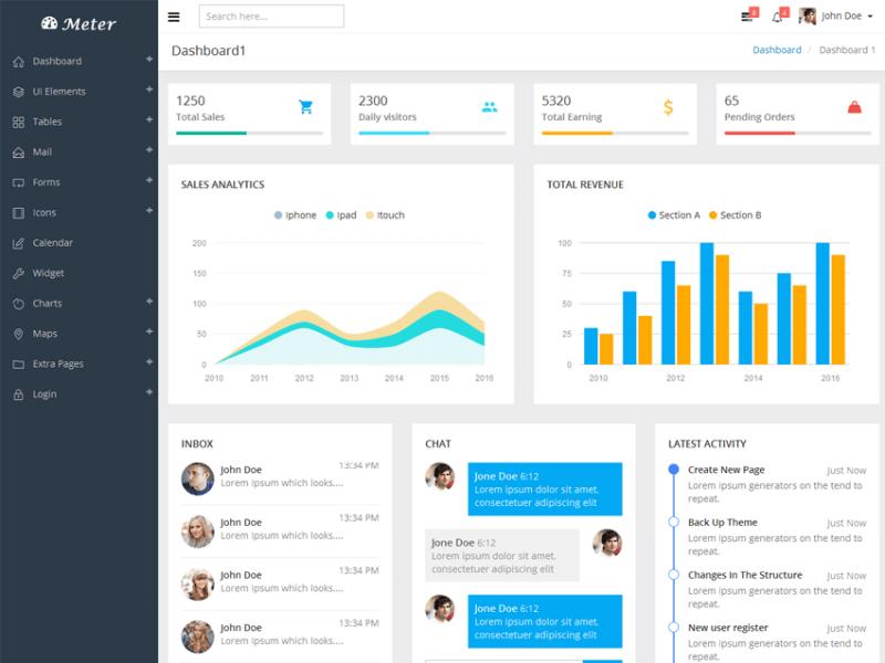 Meter - Responsive Admin Dashboard Template 1