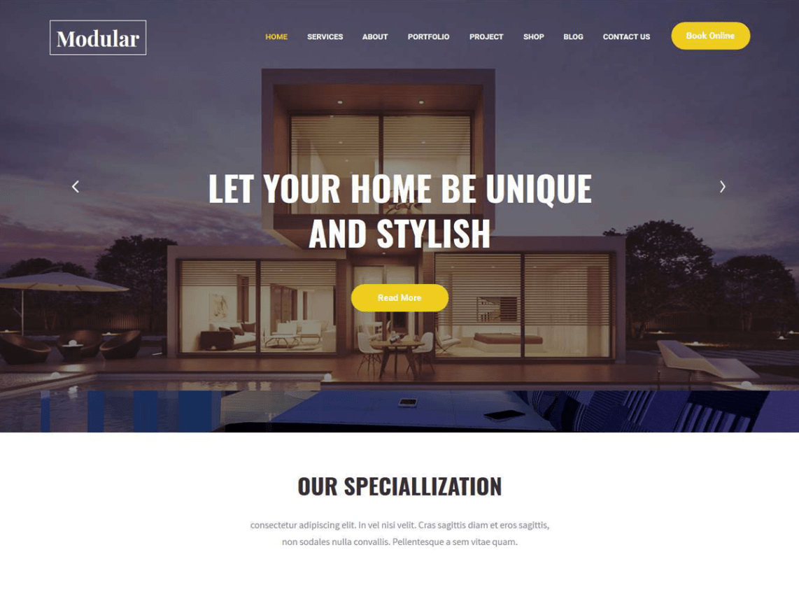 Modular Lite - Free Interior Decorator WordPress Theme 3