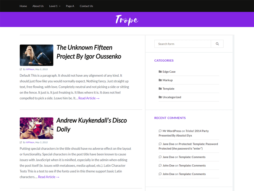 Trope – WordPress Theme with Several Widgets