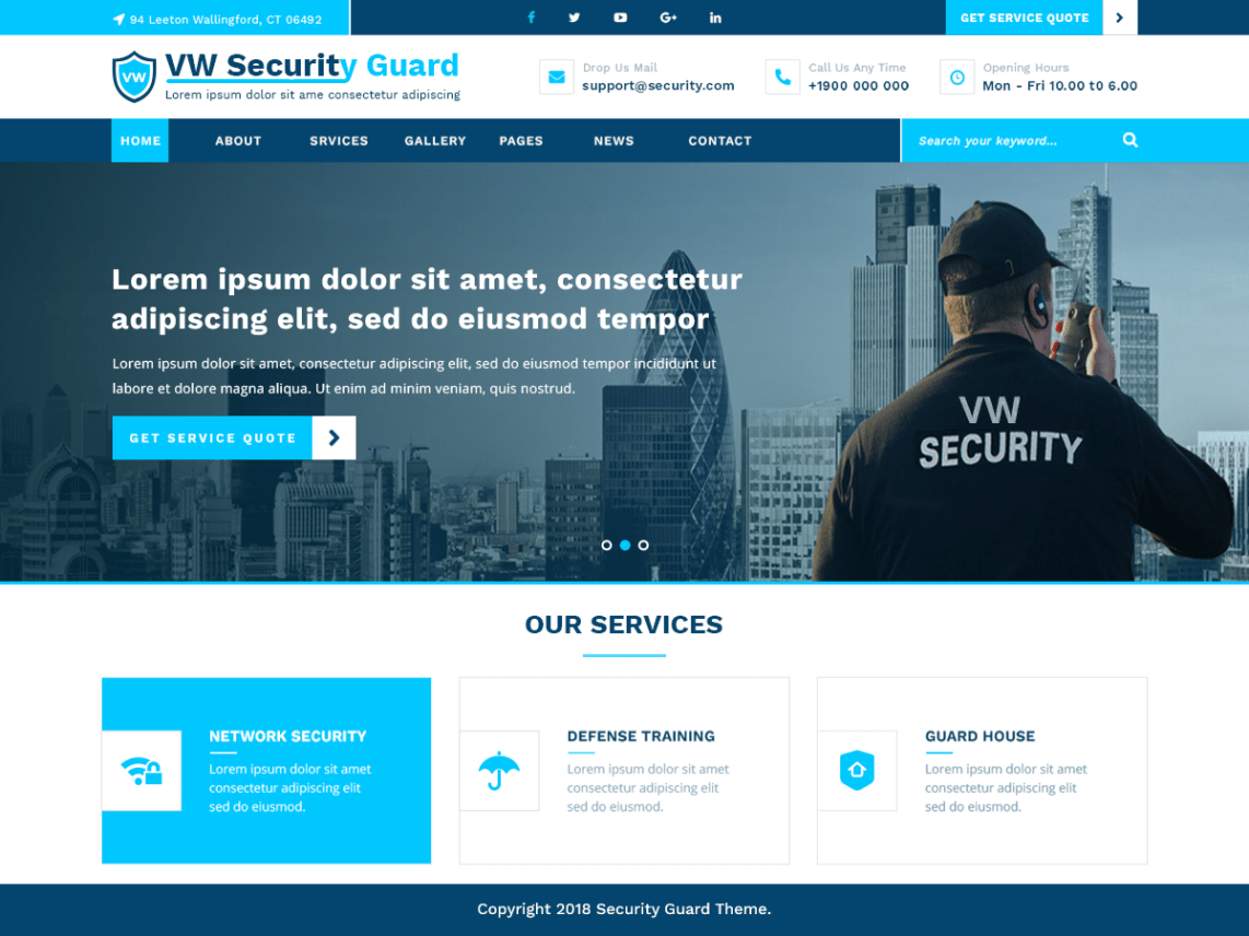 VW Security Guard – WordPress theme for Security Guards