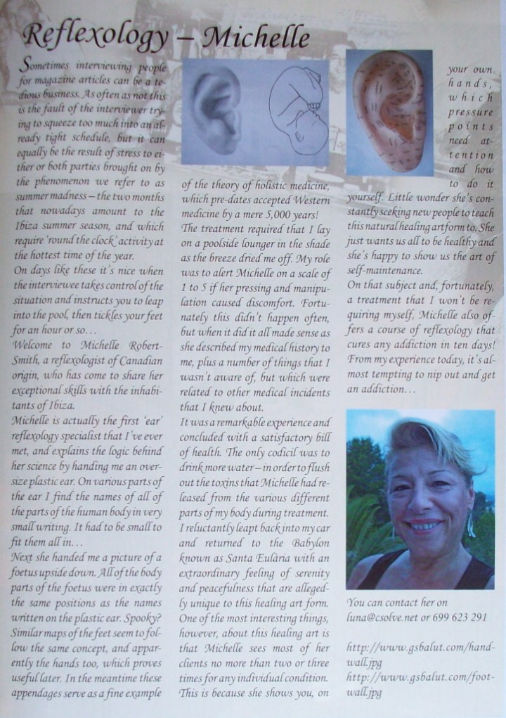 Richard's Testimonial - Reflexology Michelle -featured in Ibiza NOW