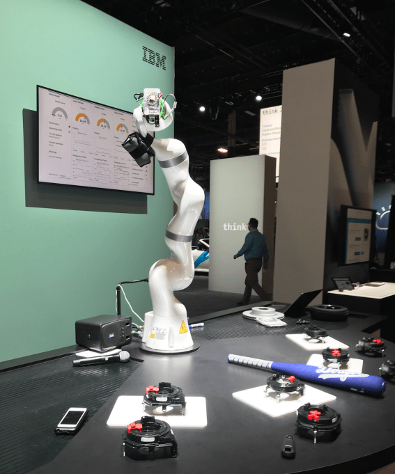 The robot arm in action at the Business and AI campus of Think 2018