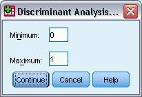 مربع حوار تحديد النطاق - التحليل التمييزي