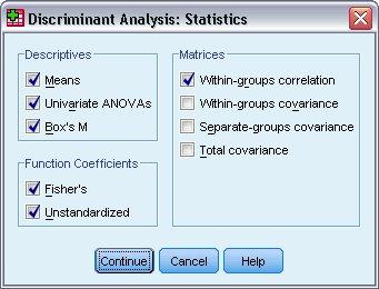 مربع حوار الإحصائيات - التحليل التمييزي