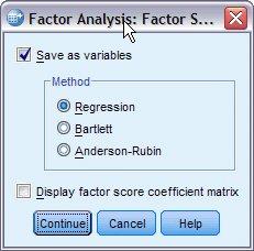 مربع حوار درجات العوامل Factor Scores