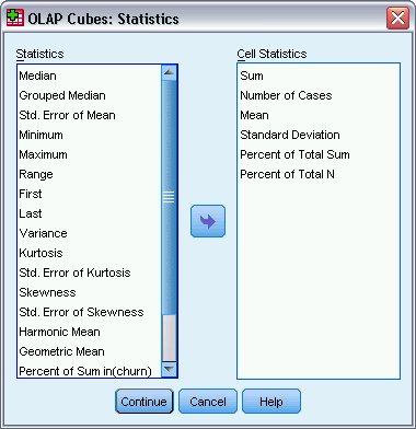 مربع حوار لتحديد الإحصائيات لتضمينها في تحليل مكعبات OLAP