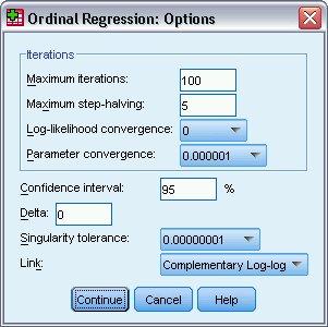 مربع حوار الخيارات - الانحدار الترتيبي