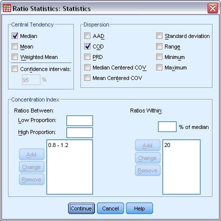 مربع حوار الإحصائيات - إحصائيات النسب Ratio Statistics