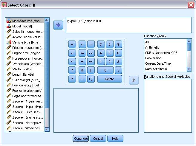 """مربع حوار """"تحديد الحلالات إذا"""" Select Cases If"""