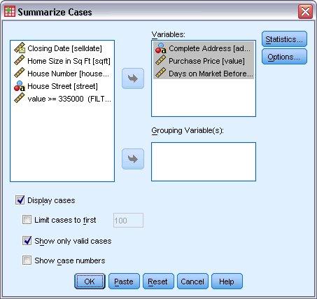 مربع حوار تلخيص الحالات مع ثلاثة متغيرات محددة لتلخيصها - إجراء تلخيص البيانات
