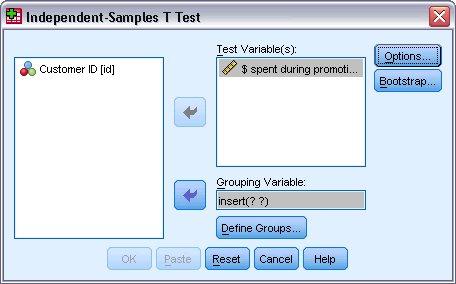 مربع الحوار اختبار ت للعينات المستقلة لتحديد متغيرات الاختبار ومتغيرات التجميع
