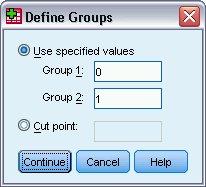 مربع حوار تحديد المجموعات بقيم محددة للمجموعة 1 والمجموعة 2