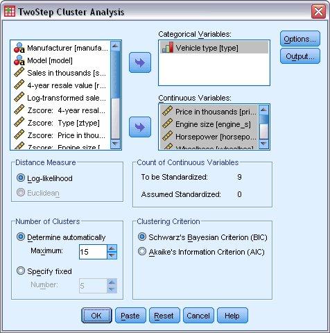 مربع الحوار الرئيسي لإجراء التحليل العنقودي من خطوتين TwoStep Cluster Analysis