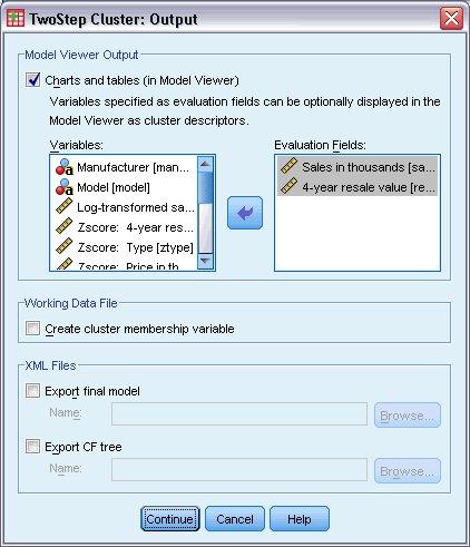 مربع حوار المخرجات لإجراء التحليل العنقودي من خطوتين