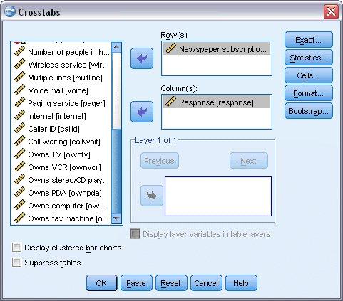 مربع حوار جدول التقاطعات Crosstabs مع تحديد متغير الصف والعمود - استخدام Crosstabs في قياس الخطر النسبي لحدث ما