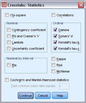 مربع حوار الإحصائيات Statistics لتحليل جدول التقاطعات