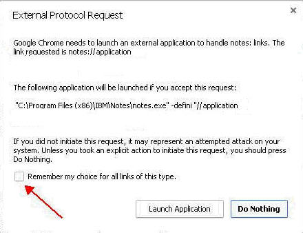 Chrome External Protocol Request dialog
