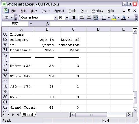 المخرجات النصية عبارة عن صف في ملف Excel - تصدير المخرجات إلى تطبيقات أخرى