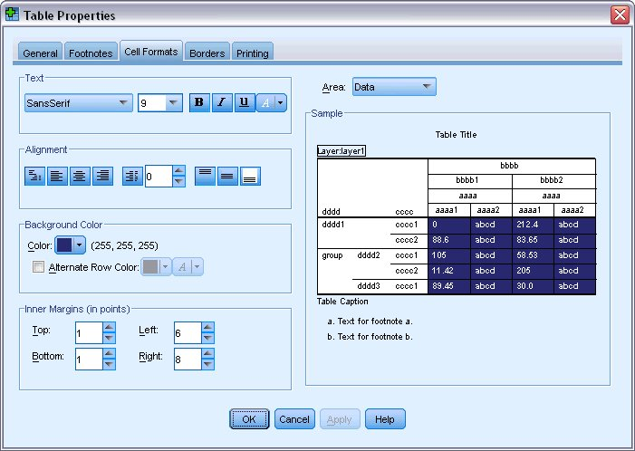 تغيير تنسيقات خلايا الجدول - ظهور نتائج التخصيص في نافذة المعاينة في مربع حوار خصائص الجدول