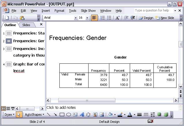 الجداول المحورية تظهر كجداول Word بعد تصديرها إلى ملف Power Point