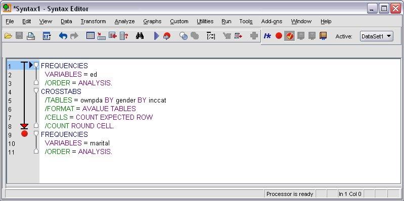 نافذة محرر بناء الجملة البرمجية التي تم إيقاف التنفيذ عند نقطة التوقف Breakpoints وتعرض سهم مؤشر التقدم - استخدام نقاط التوقف