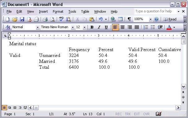 لصق جدول الحالة الاجتماعية Marital Status بتنسيق نص عادي في مستند Microsoft Word.