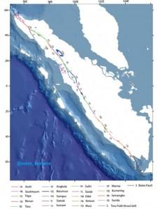 Nama-nama Segmen Sesar Sumatra (Danny Hilman, 2007)