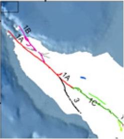 Patahan yang ada di Aceh, 1A: Segmen Aceh, 1B: Segmen Seulimum, 3: Segmen Batee, dan 1C: Segmen Tripa (Danny Hilman, 2007)