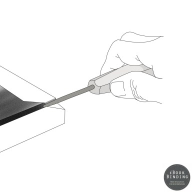 94 - Diagram - Using Bookbinding Folding Needle to Fold Edges of Turnover Cover Material