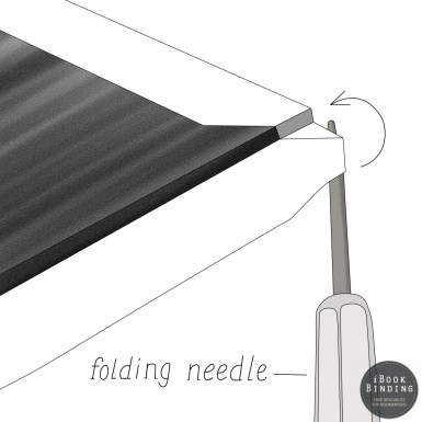 96 - Using your folding needle to fold over the cover material around binding board