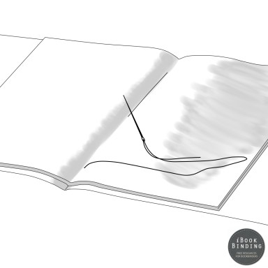 Figure 129 - Sewing Signatures and Dust Jacket Together, Step 4 - Bookbinding Tutorial