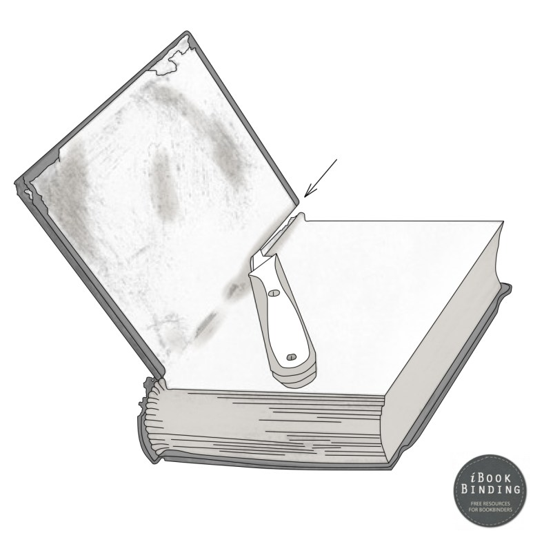 Figure 180 - Tearing a Book Apart, Cutting through Mull, Endsheet and Covering Material