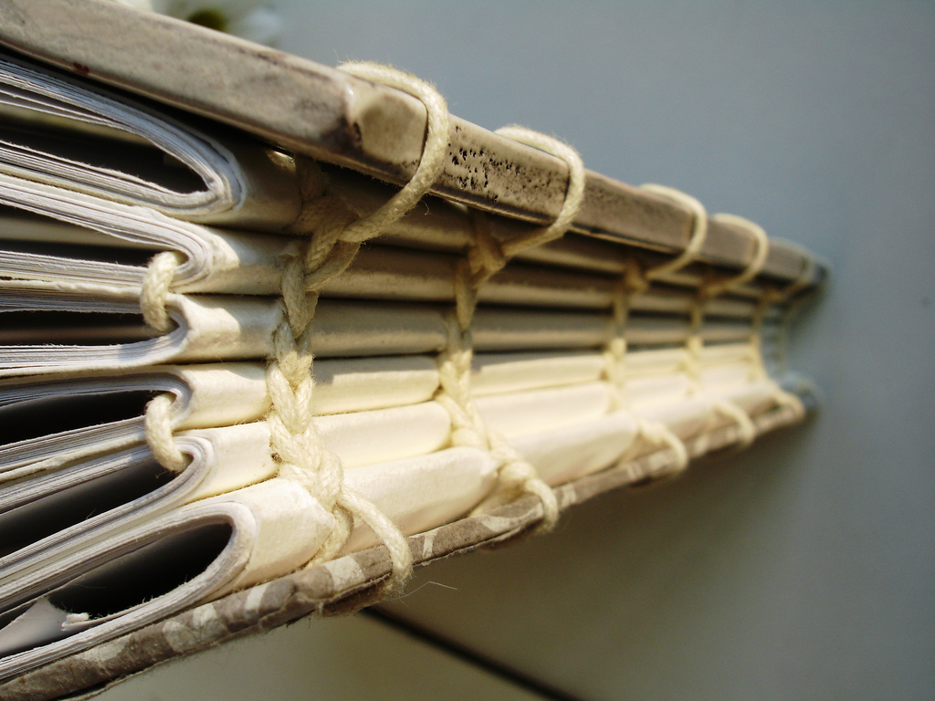 Exposed Signatures Stitched with Thick Cord with Natural Book Covers