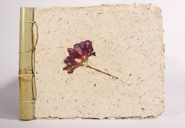 bamboo flower and poo paper notebook