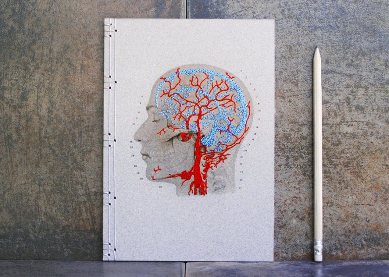 Embroidered Skull and Brain on Book Front Cover