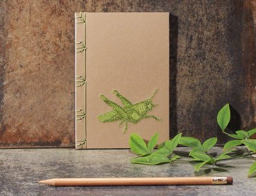 Stitched Grasshopper on Book Front Cover