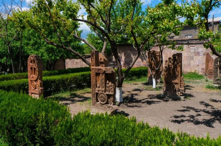 Traditional Armenian Khachkars Shaped as Letters Near the Saint Mesrop Mashtots Cathedral 1