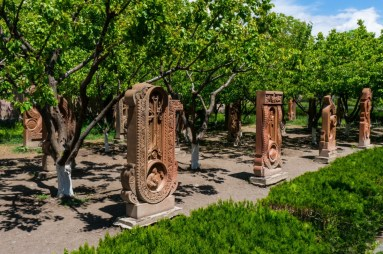 Traditional Armenian Khachkars Shaped as Letters Near the Saint Mesrop Mashtots Cathedral 2