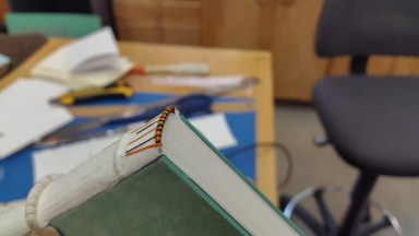 Sewing an Endband at the American Academy of Bookbinding 02