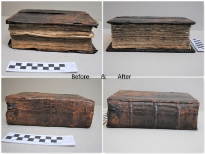 2018.11.30 - Restoration of an 18th-Century Slavonic Liturgical Book - Before and after - Fore-edge and spine