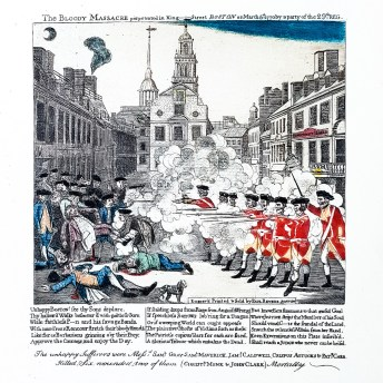 For the frontispiece a colored version one of the Revere's engravings is used