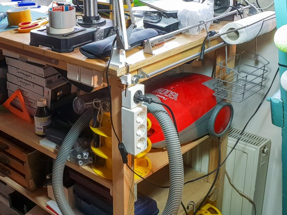 2018.12.17 - Recent Updates to My Bookbinding Workbenches - Vaccum Cleaner and Power Plugs 02