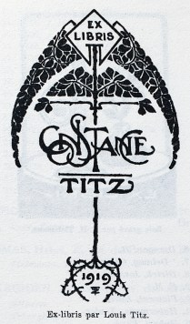 Ex libris by Louis Titz for Constance Titz