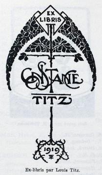 Ex libris by Louis Titz for Constance Titz
