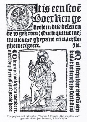 Title page with a pretty traditional initial from Thomas à Kempis 'Qui sequitur me', printed by Jan Seversz, Leiden 1519